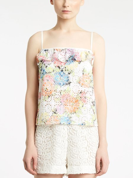 Top in Sangallo Stampa Fiori - Multicolore