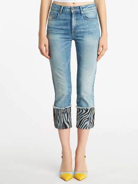 Jeans with zebra-print bottom