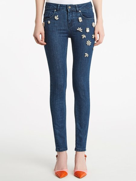 Skinny-Fit Jeans mit Strass-Stickerei