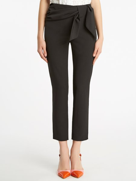 Cigarette-leg trousers with small sash - Black