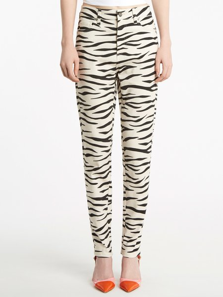 All-over zebra print jeans