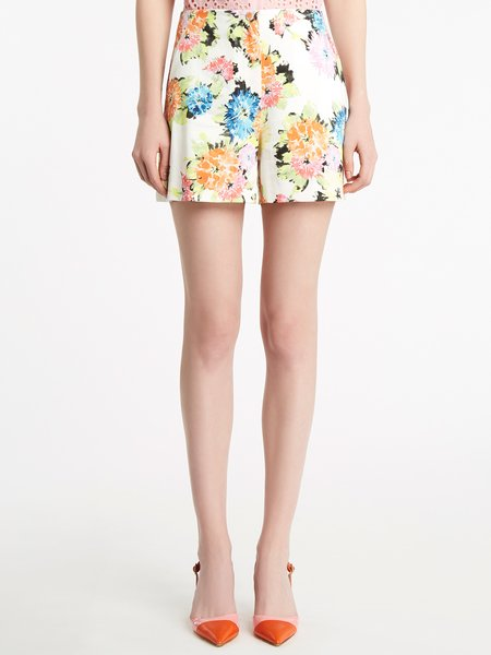 Floral print cotton shorts