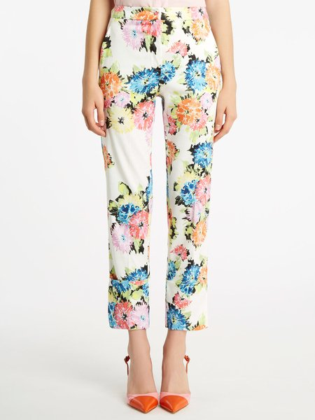 Floral print cotton trousers with cuff