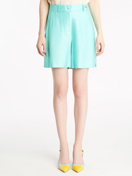 Bermuda shorts in viscose with slits - Green