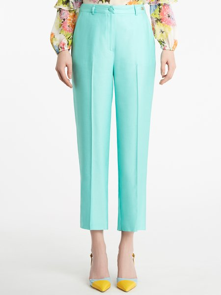 Cigarette-leg trousers with pleat