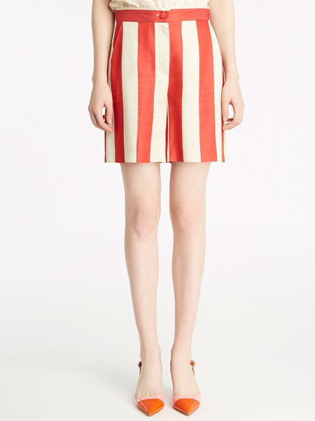 Bermuda shorts in two-tone striped viscose - beige