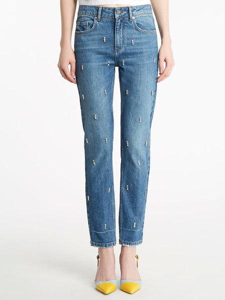 Five-pocket jeans with rhinestone embroidery