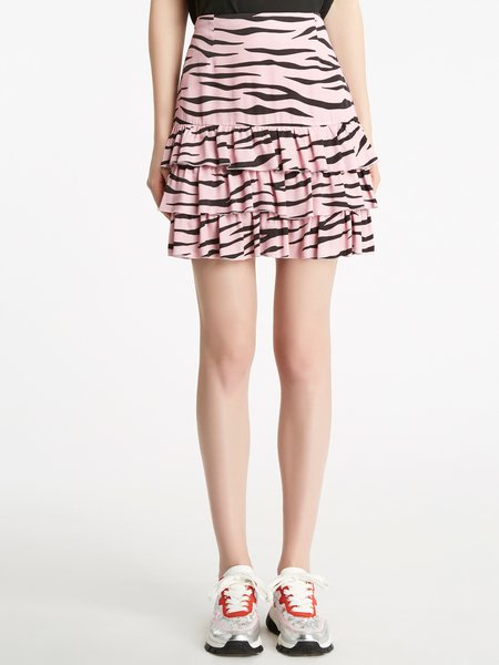 Zebra print skirt with flounce - pink