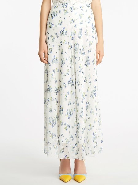 Long skirt with micro bouquet print