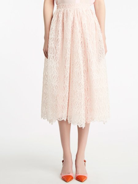 Midi skirt in embroidered organza