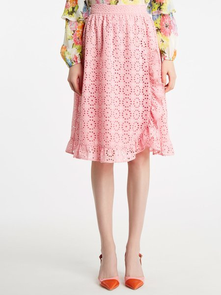 Broderie anglaise embroidery skirt with frill - pink