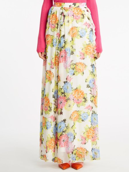 Floral print long skirt with frill