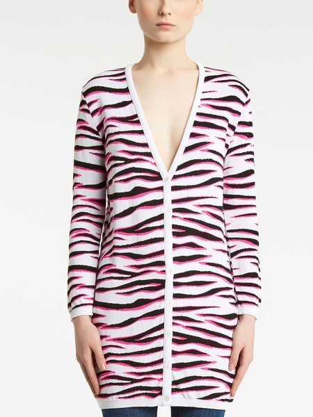 Jacquard cardigan with zebra motif - white