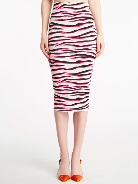 Skirt in jacquard knit with zebra motif