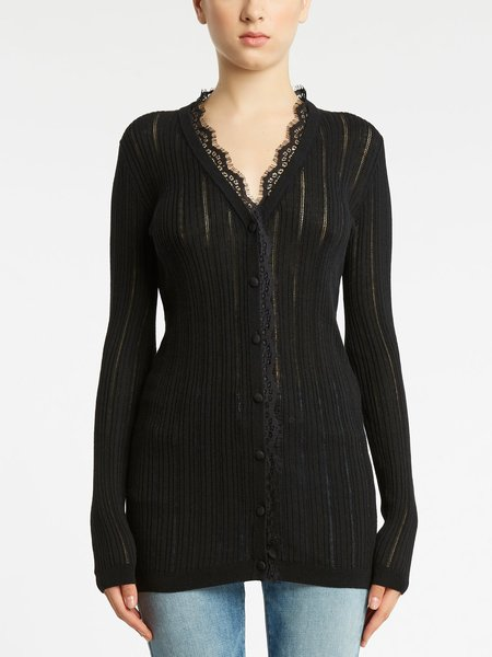 Long-sleeved cardigan with lace