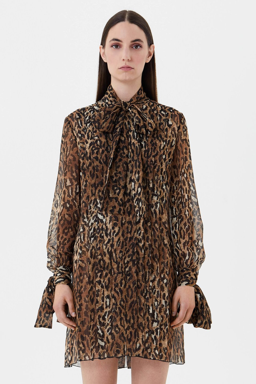 Animal print silk chiffon dress