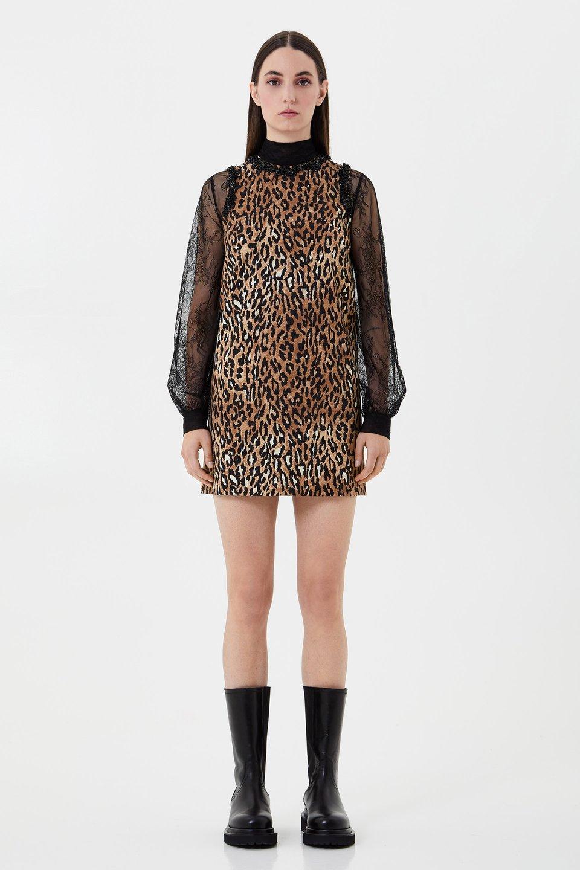 Kleid mit Animal-Print und Stickerei