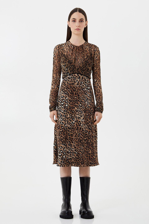 Платье из шёлкового шифона с анималистическим мотивом