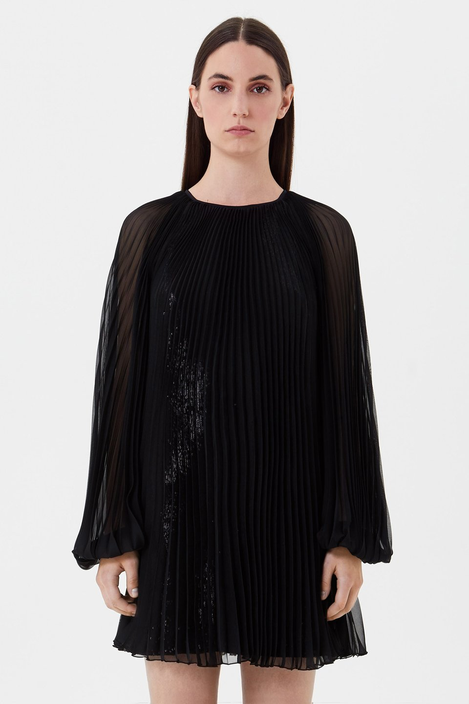 Платье из плиссированного шифона с пайетками