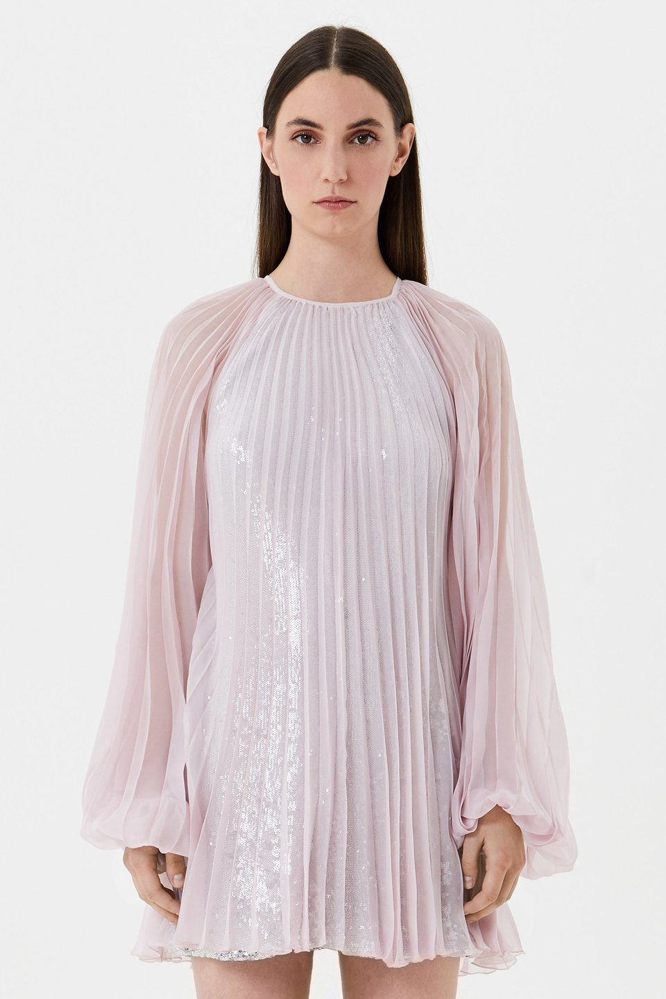 Pleated chiffon dress with sequins