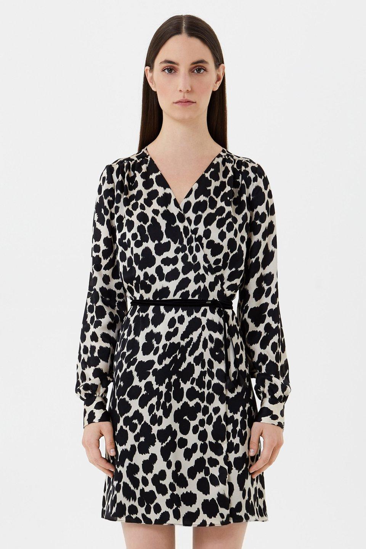 Animal print silk wrap dress