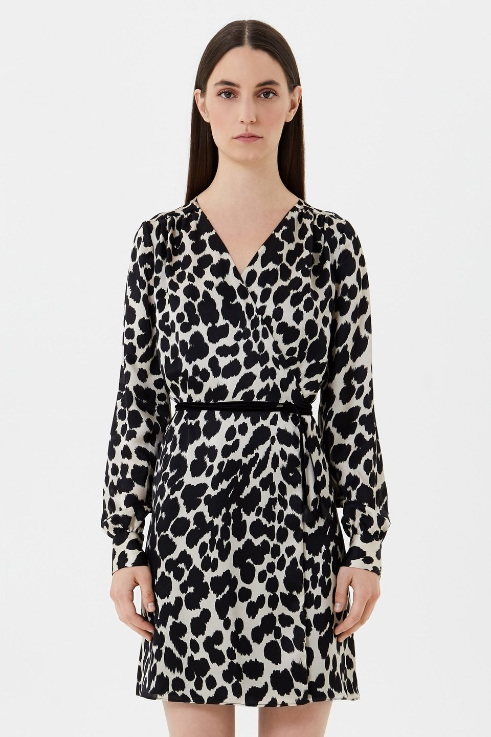 Animal print silk wrap dress