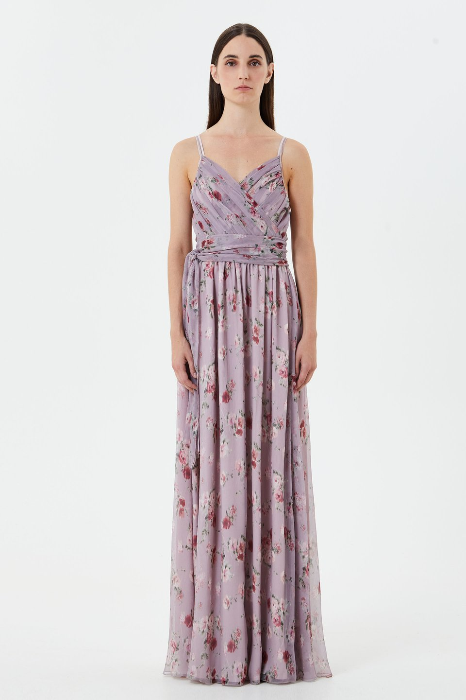 Longline silk chiffon dress
