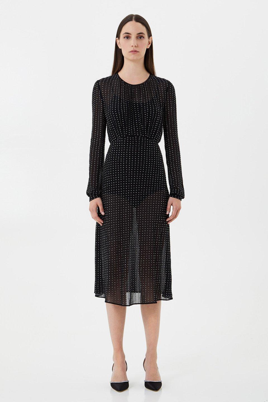 Silk chiffon dress with crystal embroidery