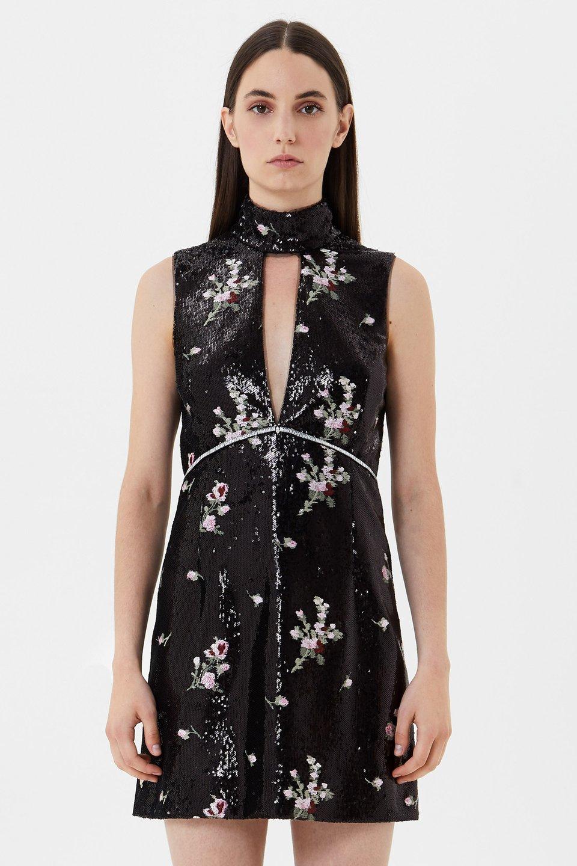 Kleid mit Paillettenstickerei und Strass