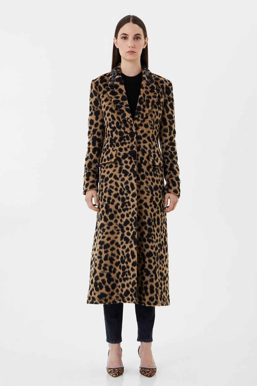 Mantel aus Kunstfell mit Animal-Print