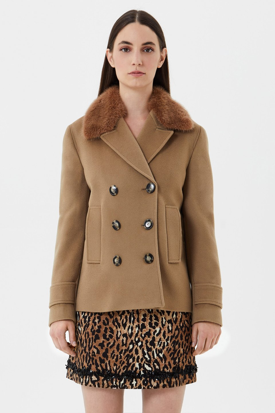 Pea coat in wool with mink collar