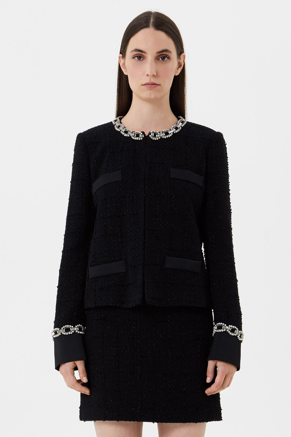 Bouclé jacket with rhinestone embroidery
