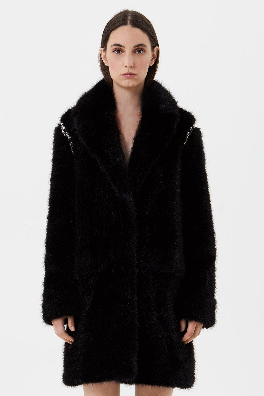 Пальто из экомеха с вышивкой стразами
