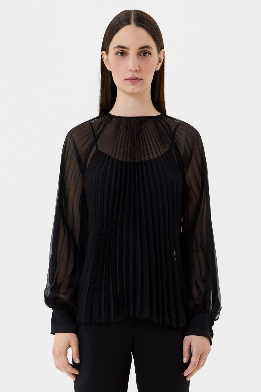 Pleated chiffon blouse