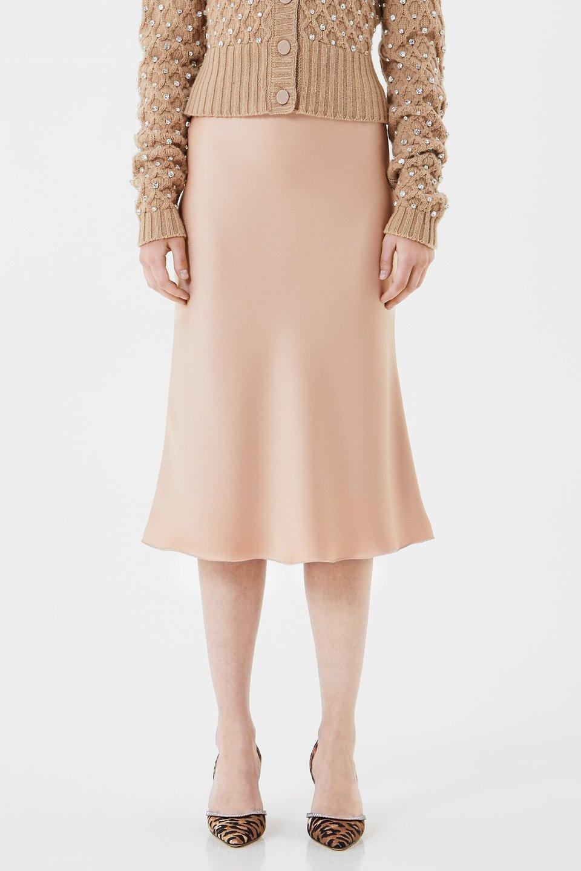 Falda midi de raso