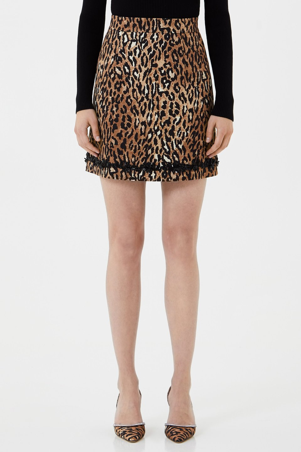 Animal print mini skirt with embroidery