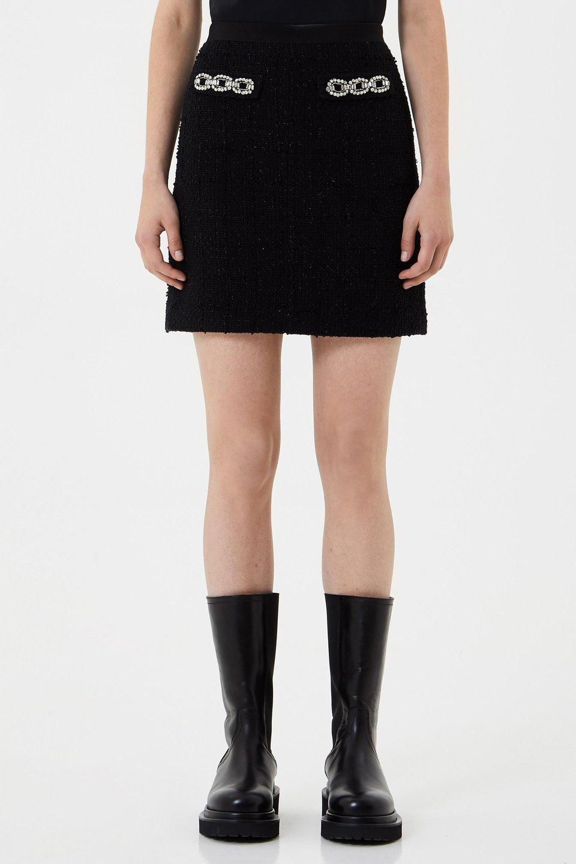 Мини-юбка из букле с вышивкой стразами