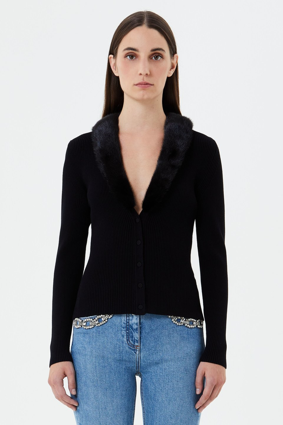 Cardigan with mink collar