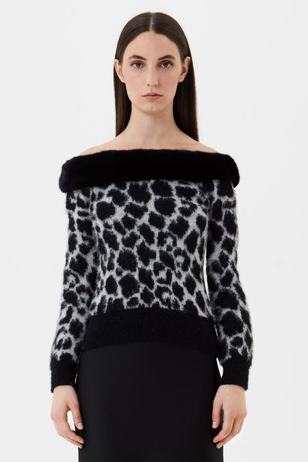 Jacquard jumper with mink