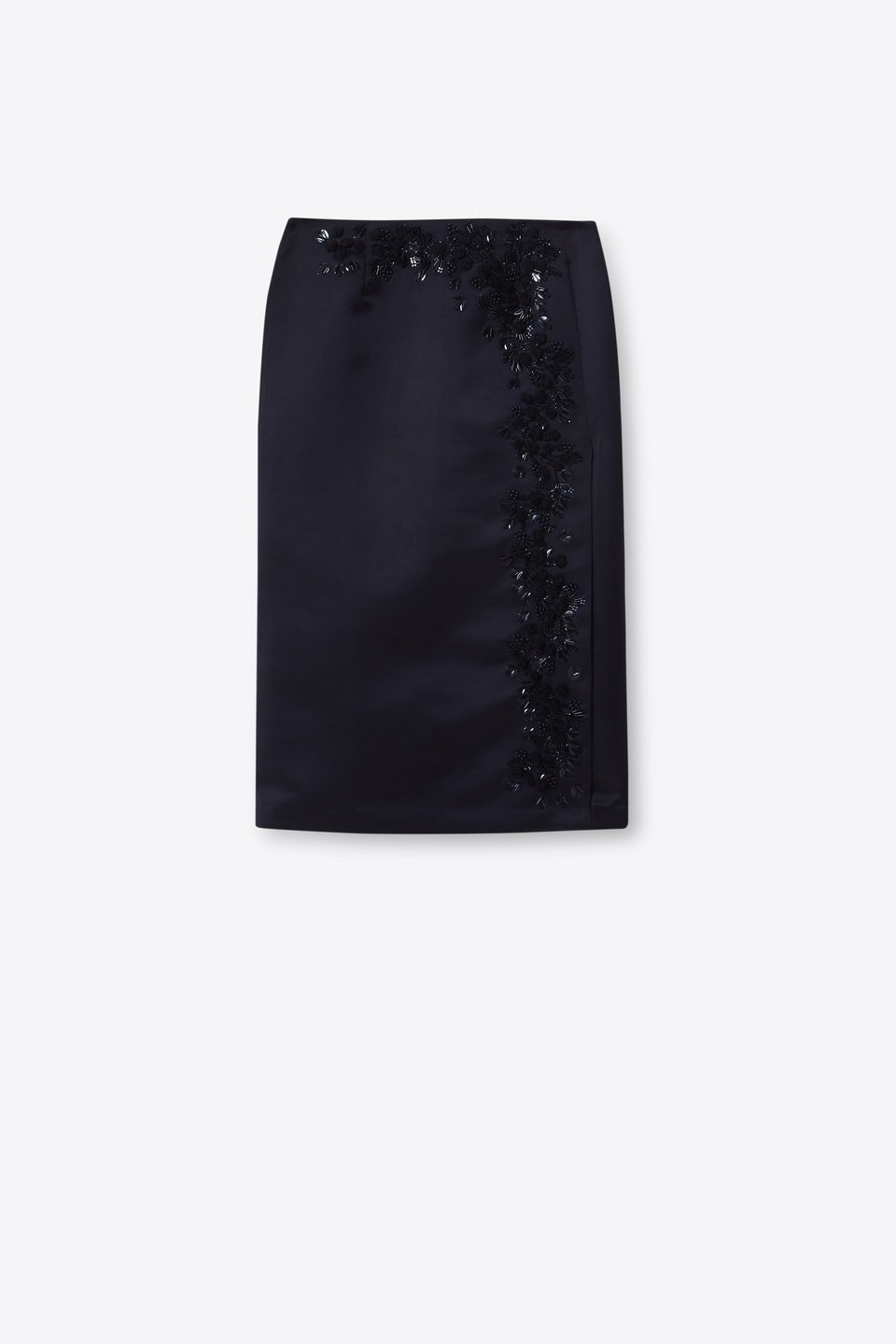 Midi skirt with rose embroidery