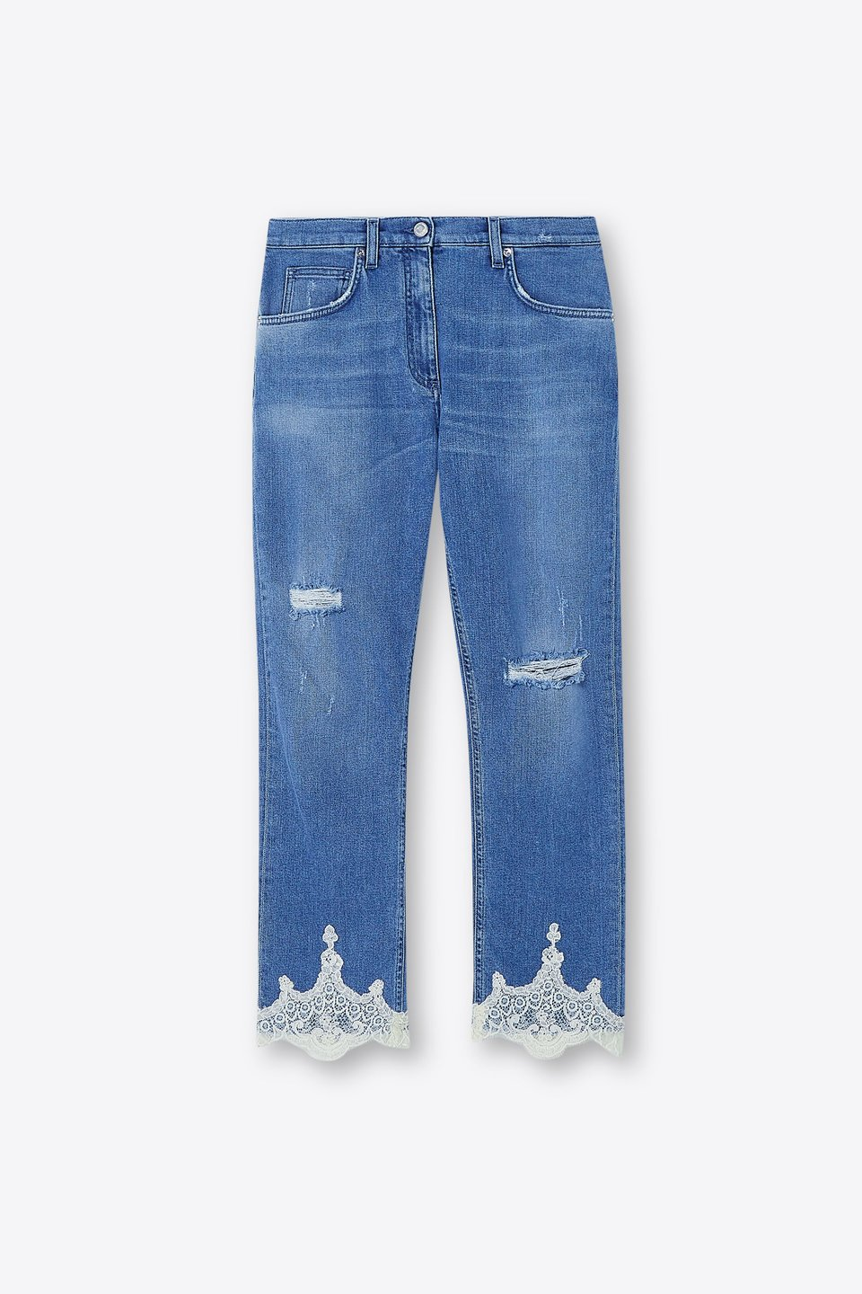Jeans Distressed Con Pizzo