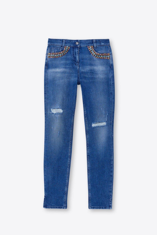 Jeans Distressed Con Ricamo Strass