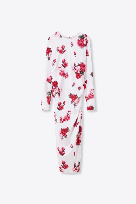 Robe à imprimé roses avec drapé
