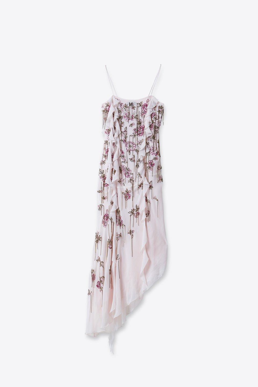 Vestido asimétrico con bordado