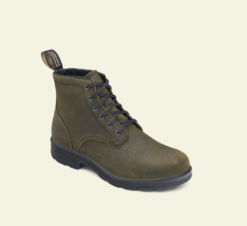 Stivaletti #1932 - LACE UP SERIES - Camoscio Oliva