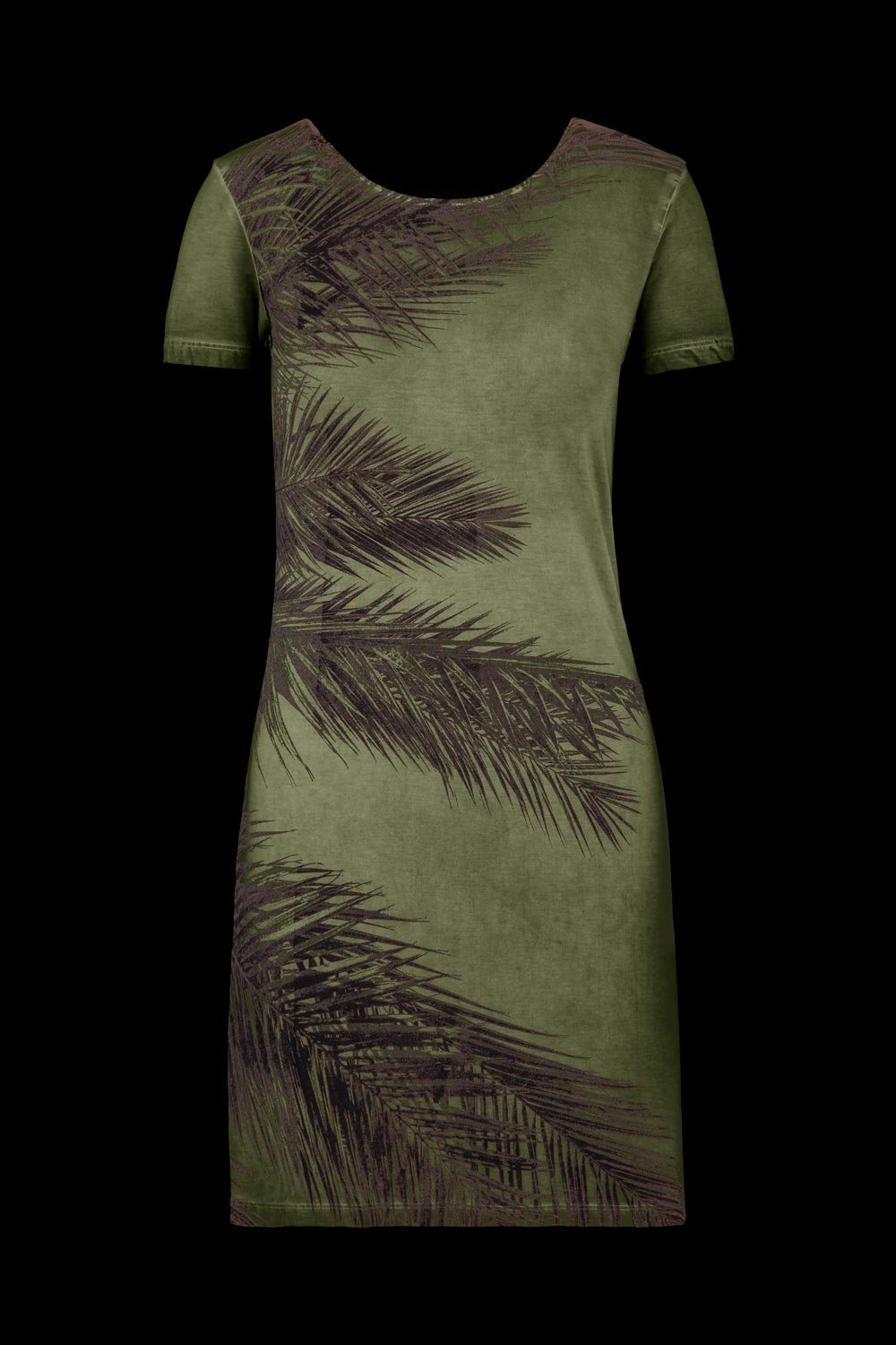 Dress with low neckline and palms print