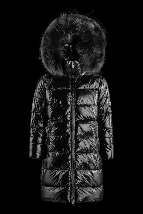Girl's long laqué down jacket