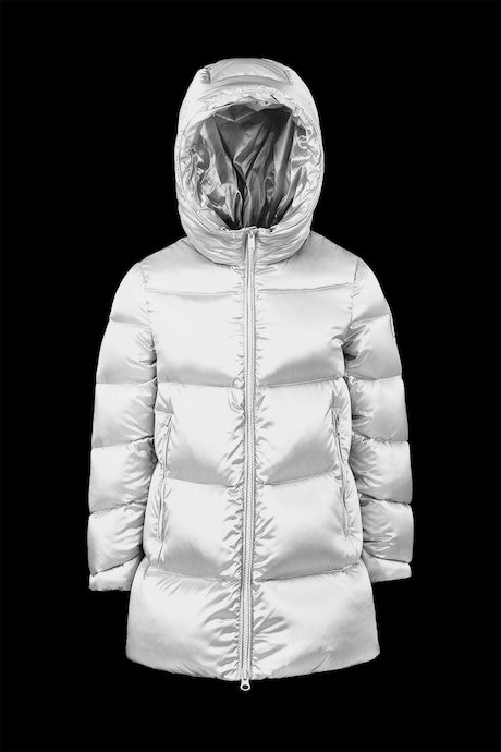 Long Shiny Down Jacket with Hood
