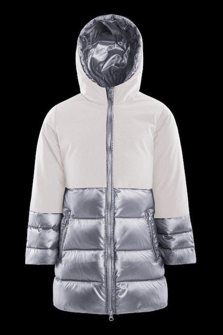 Bi-material girl's down jacket