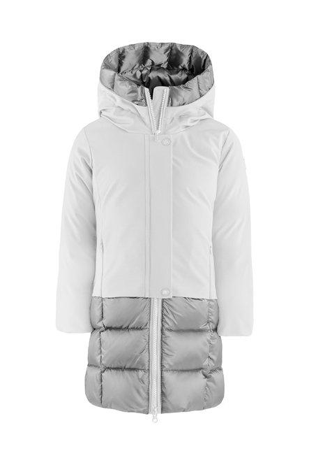 Bi material real down jacket